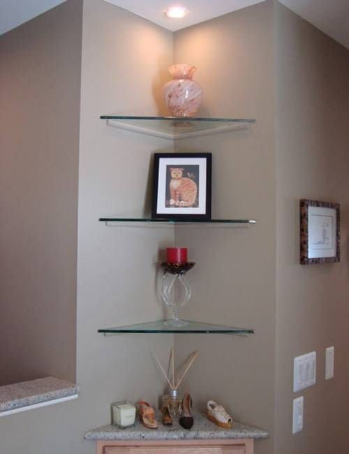 25 space saving modern interior design ideas corner - Glass corner shelf for living room ...