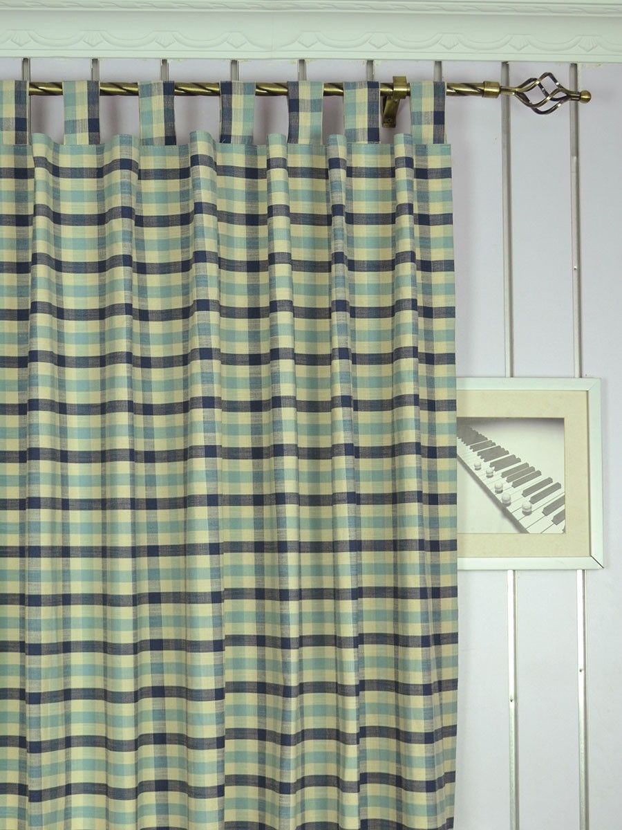 Extra Wide Hudson Small Check Tab Top Curtains 100 Inch 120 Inch