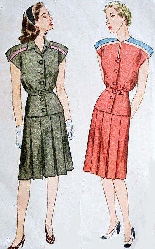 1940 vestido de dos Pc Patrón Simplicity 1344 dos estilos de escote plisado de la falda del busto 34 patrón de costura de la vendimia