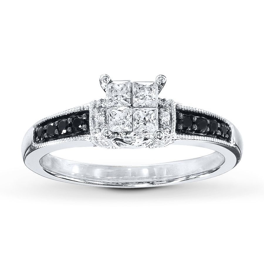 Black/White Diamonds 1/2 Ct Tw Engagement Ring 10K White Gold Awesome Ideas