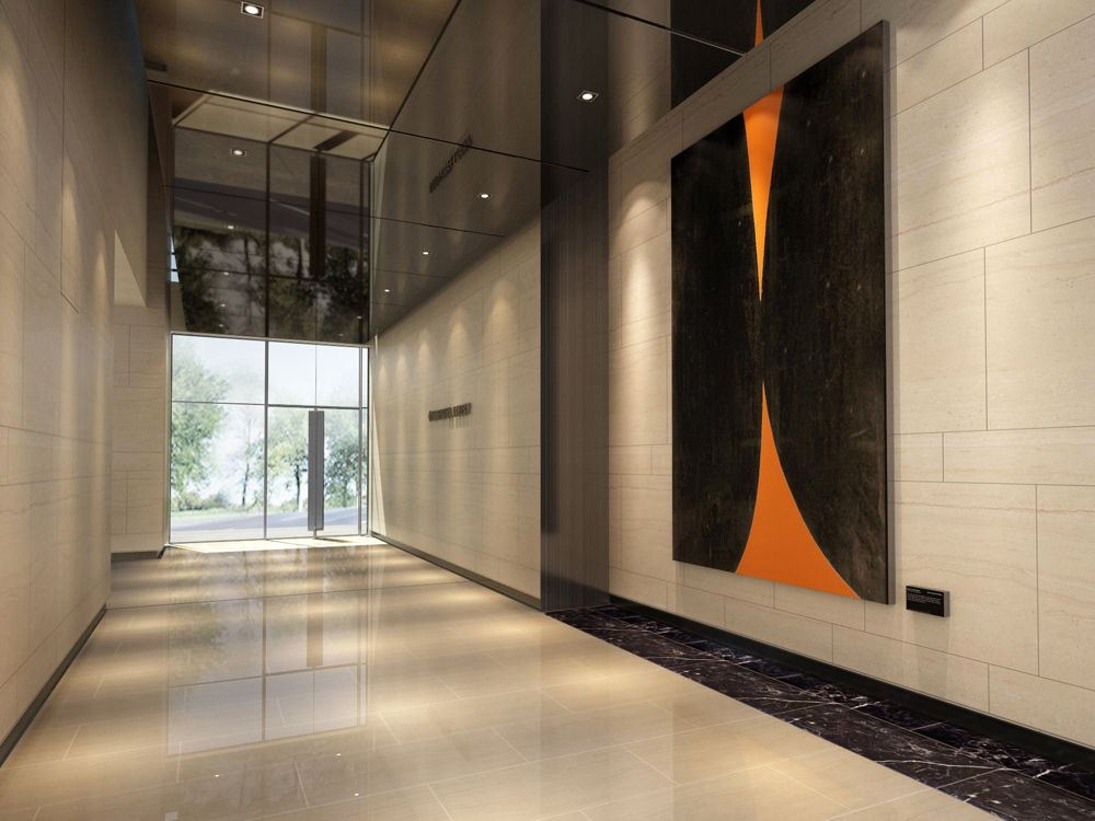 commercial office lobby interior design view 04 with stone and art ...