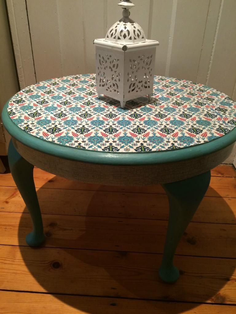 Upcycled blue coffee table in arabesque geometric design for Coffee tables gumtree