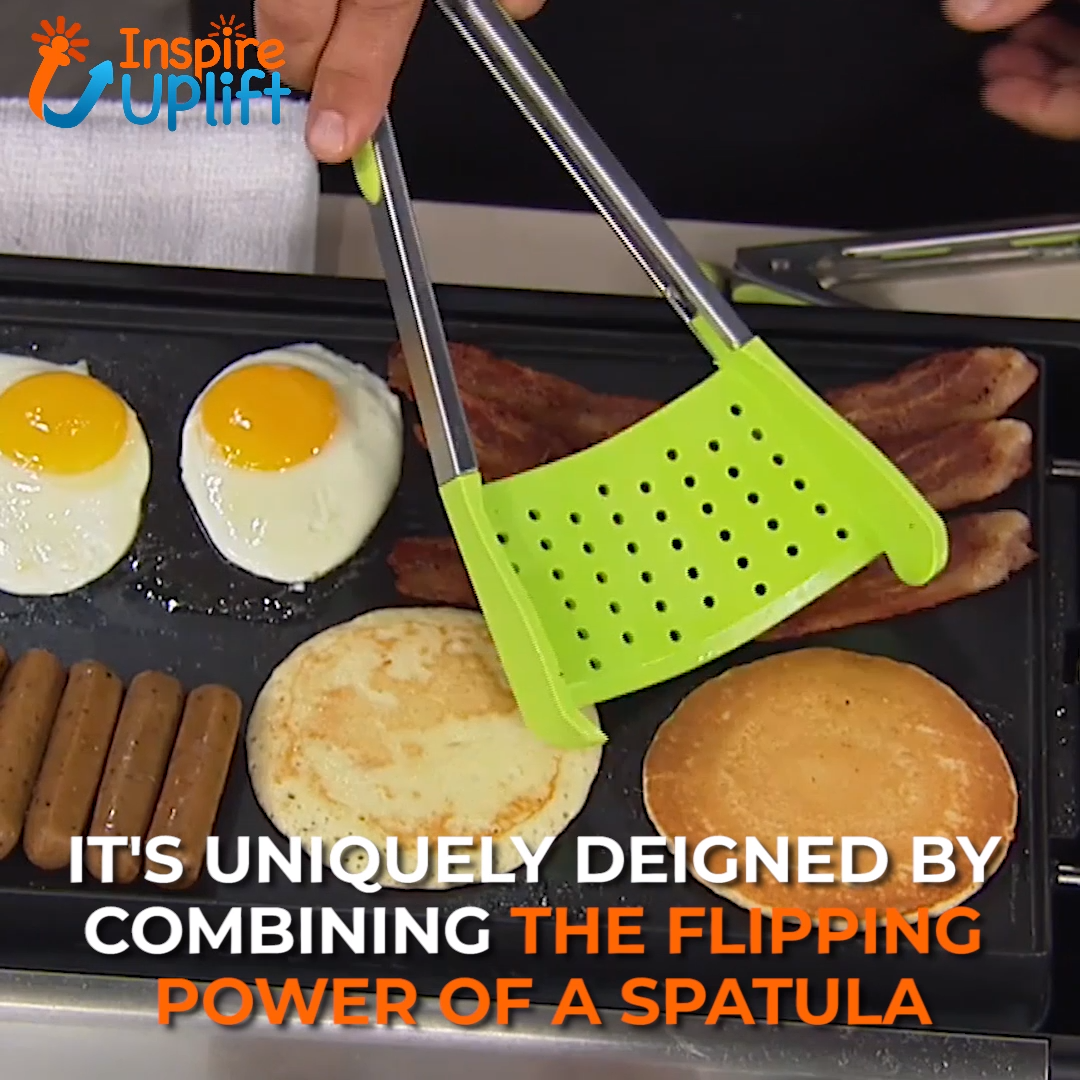 Flip Turn & Grab Spatula 😍  The Flip Turn & Grab Spatula combines the flipping power of a spatula with the squeeze capability of a pair of tongs! Flip, cradle, grab or scoop with ONE utensil! Make cooking and serving your favorite foods much easier and more enjoyable.  Currently 50% OFF with FREE Shipping!
