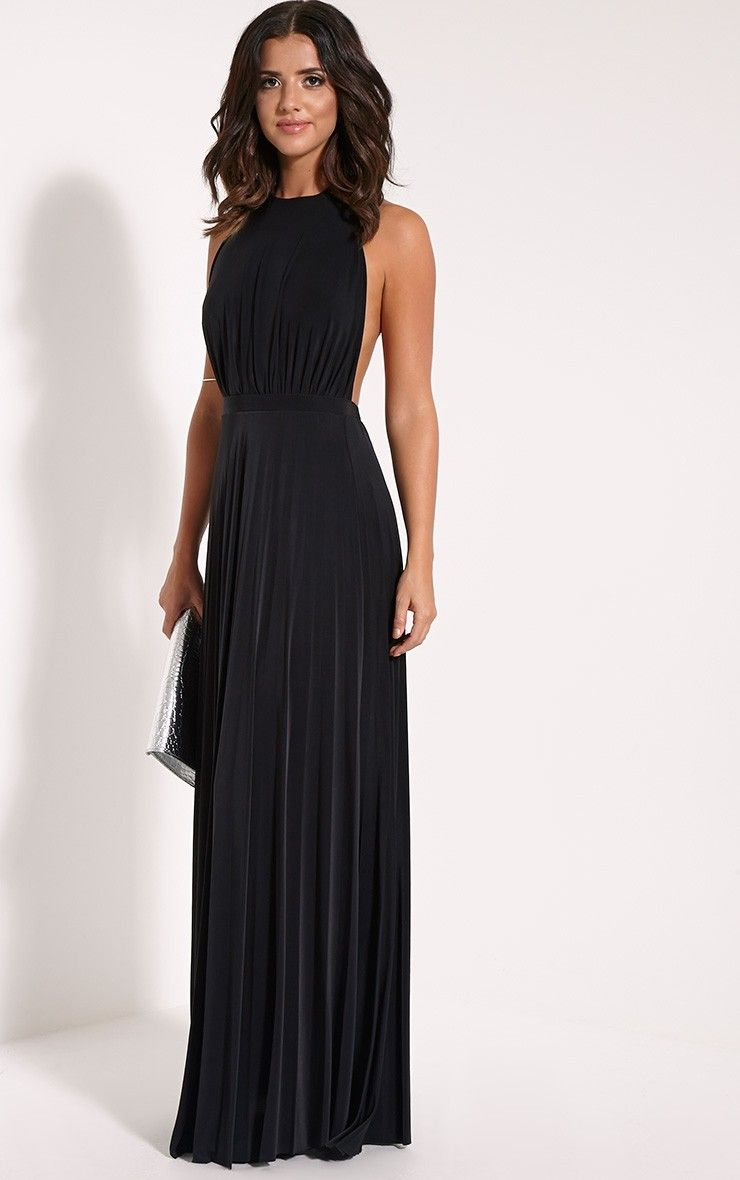 Lorelei Black Halterneck Pleated Maxi Dress Image 1 | Dresses ...
