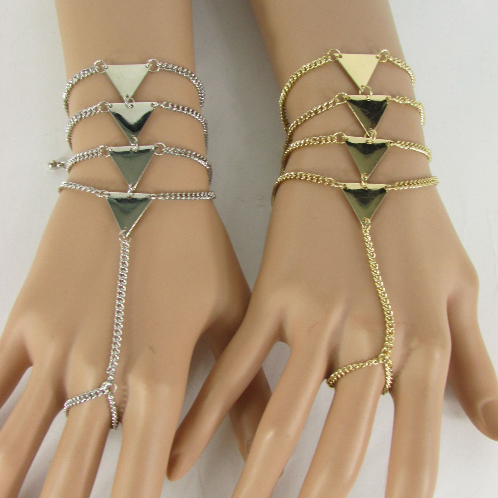 Women silver gold metal triangles bracelet hand chain fashion