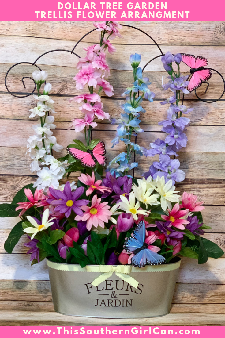Dollar Tree Garden Trellis Flower Arrangement