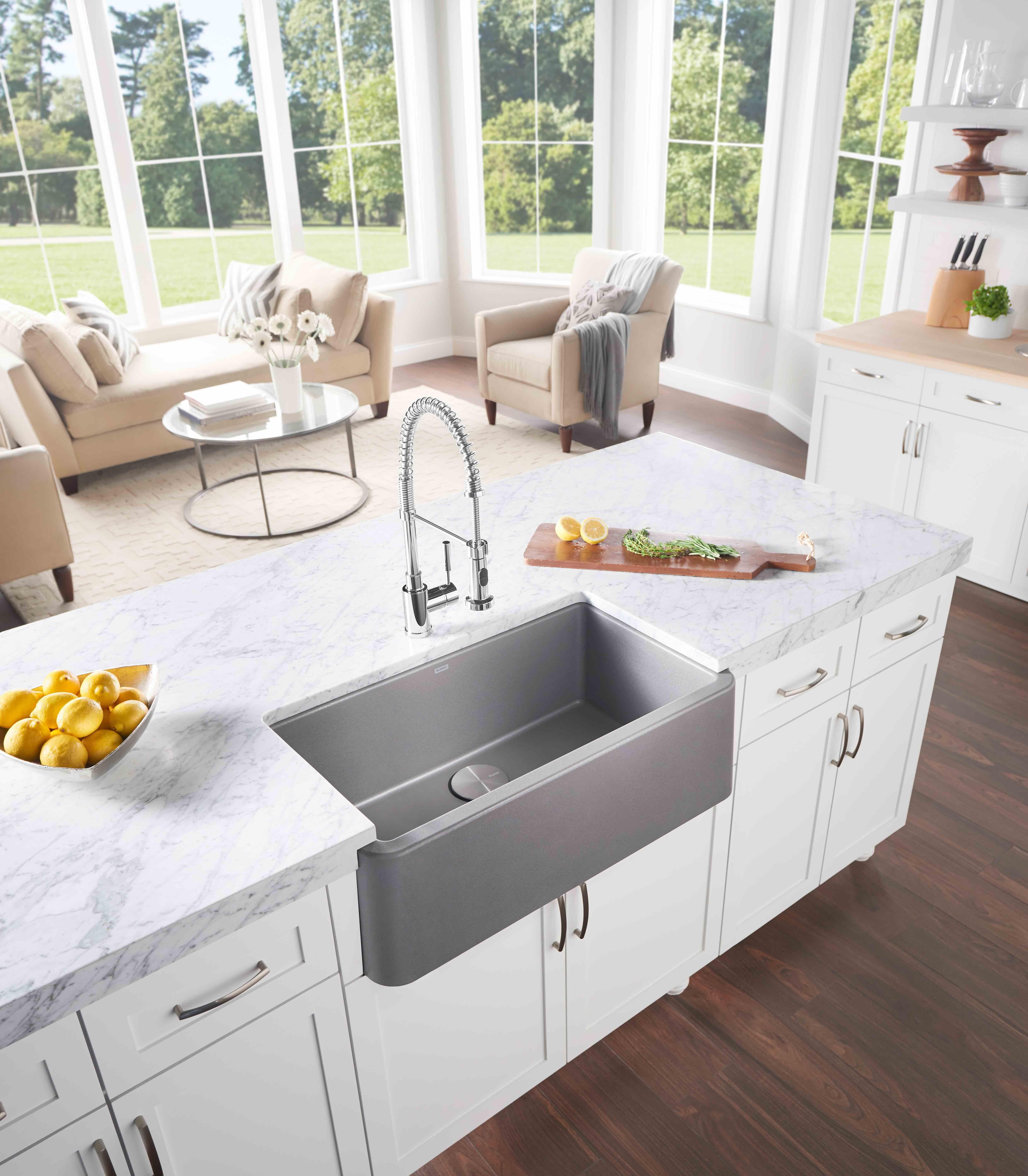 BLANCO IKON Farm Sink In Metallic Grey.