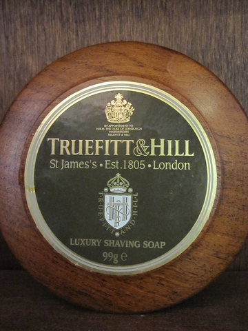Truefitt & Hill shaving soap in a round wood bowl with a lid.  This lightly scented shaving soap produces a lather when applied with the wet badger brush using small circular motions.  Dry the brush carefully after use.  This luxury soap is long lasting and very traditional.     99gm