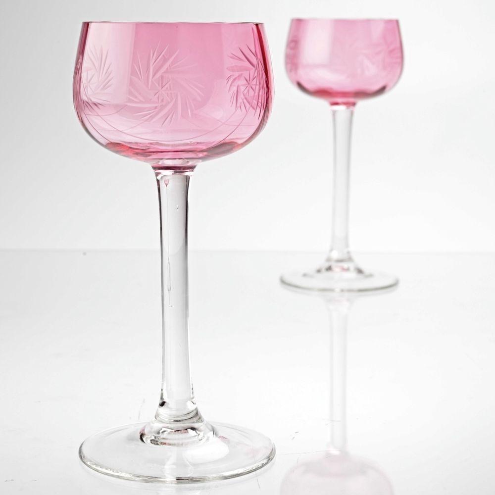 Weißweingläser details zu 2 vintage weingläser rosa schleuderstern schliff gravur