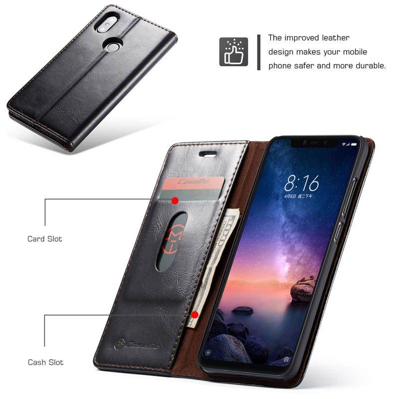 Caseme Xiaomi Redmi Note 6 Pro Wallet Stand Magnetic Flip Case Black Case Wallet Xiaomi