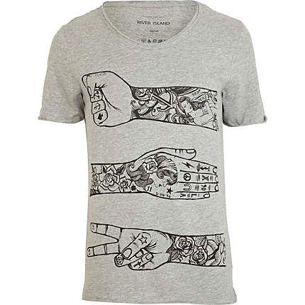 Tattoo T Print Arm Vests Shirt Grey Shirts Rqc5j3L4AS