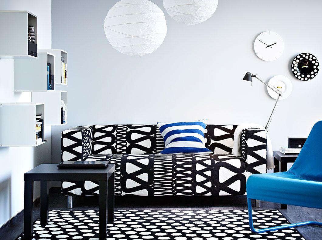 Klippan Two Seat Sofa With Storlien Black White Cover Lack Black Side Table And Locksta Blue Easy Chair Ruang Tamu Ikea Kursi Ruang Keluarga Perabot Rumah