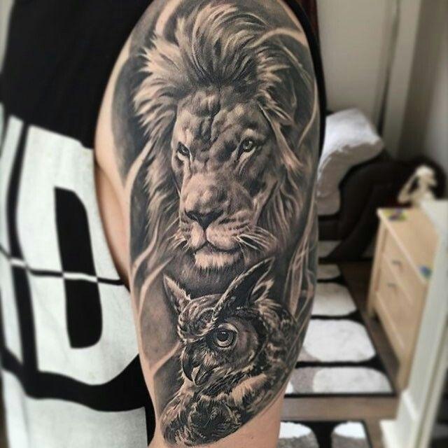 тату с знаком льва