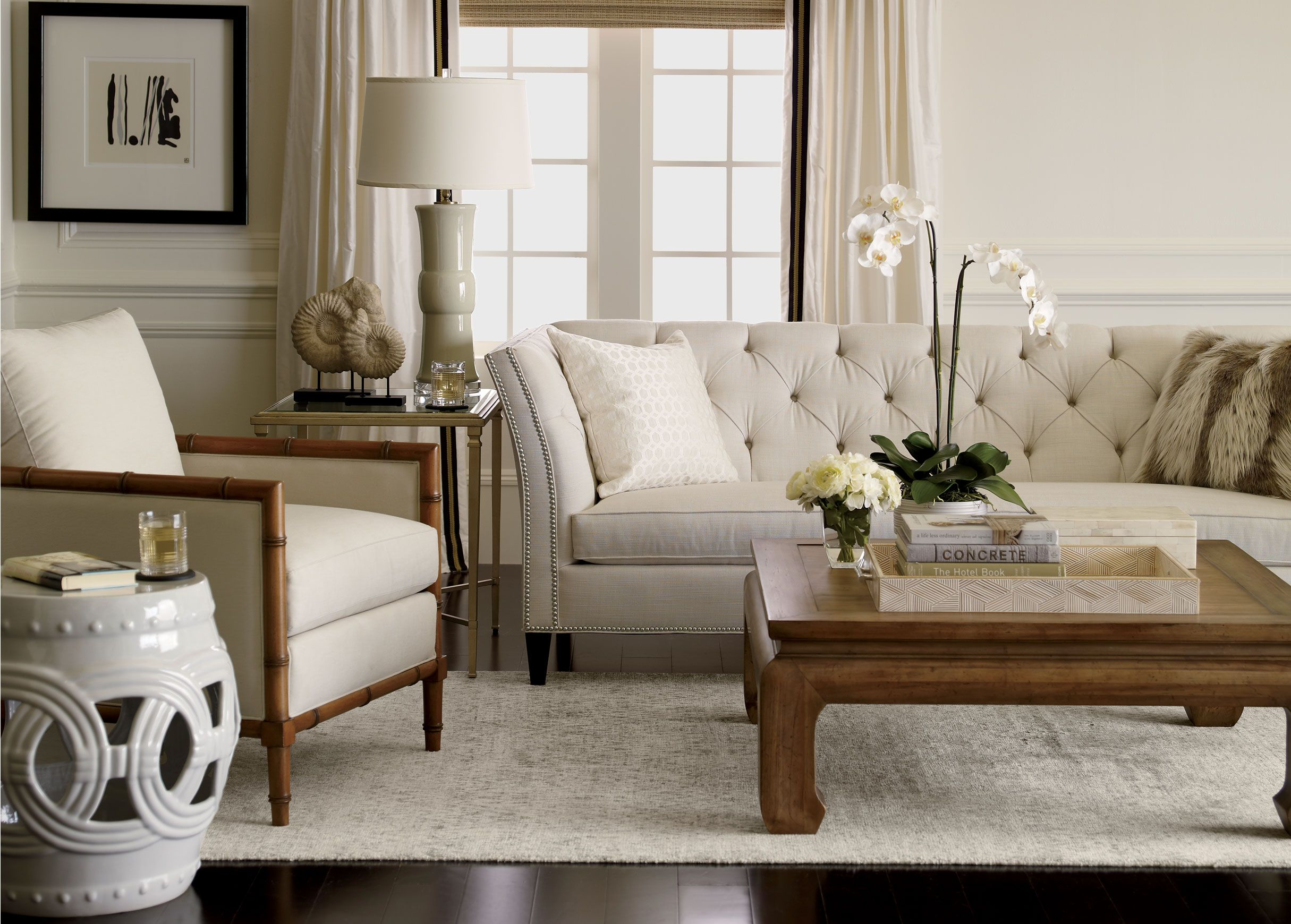 Classic neutral meets natural in a comfortably modern mix for Ethan allen living room designs