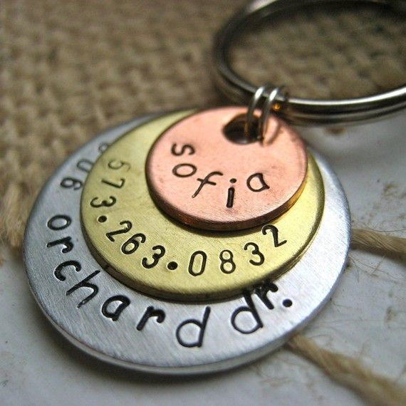 Sofia triple disc personalized pet id tag by makeyourdogsmile