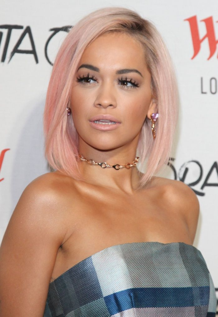 Rita Ora Is Also Known For Her Frequent Hair Changes Here She Is With A Daring Pink Bob Photo La Celebrity Haircuts Pink Hair Prom Hairstyles For Short Hair