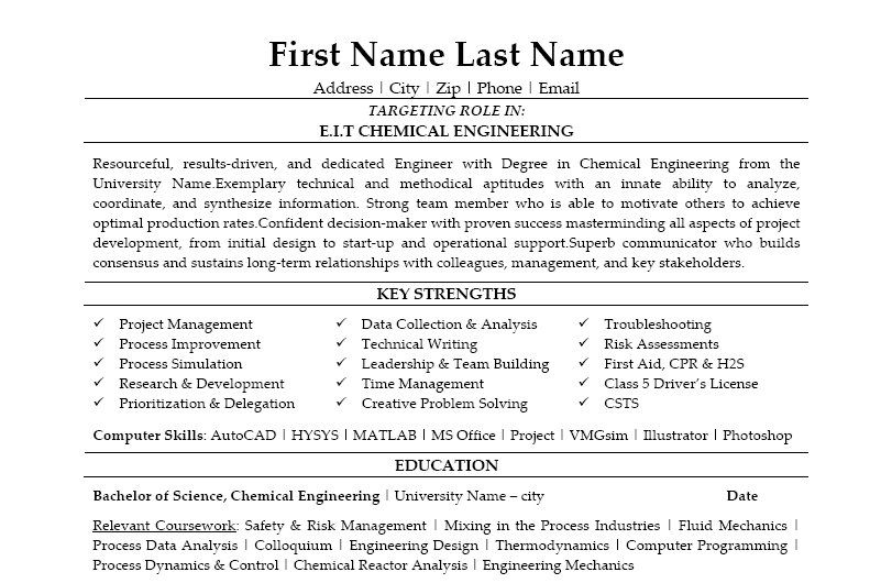 Chemical Engineering Resume Click Here To Download This Eit Chemical Engineer Resume Template