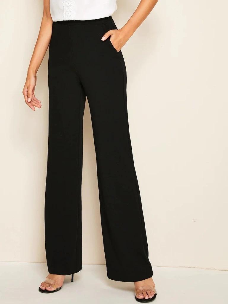 Photo of Pantaloni gamba larga tasca laterale elastico in vita