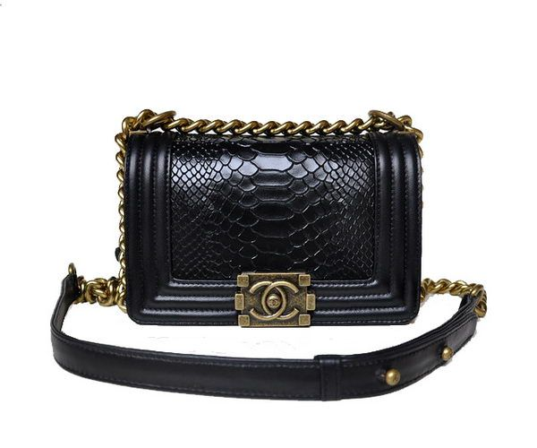 Boy Chanel mini Flap Shoulder Bag Snake Leather A67024 Black - Snake Veins  Leather - Brass 1923dc102ab