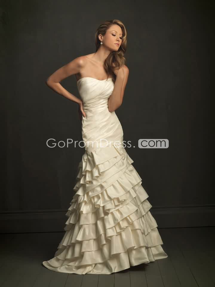 pleated tiers mermaid Court Train champagne wedding dress picture 1
