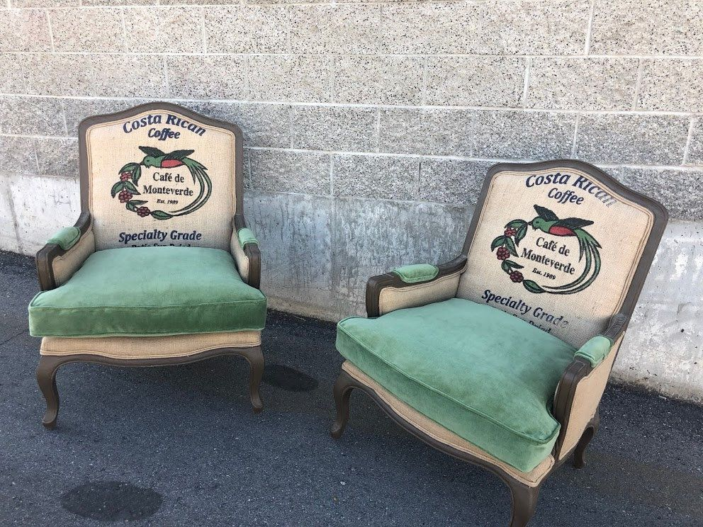 Excellent Bergere French Arm Chairs With Coffee Burlap Jute Sack And Evergreenethics Interior Chair Design Evergreenethicsorg