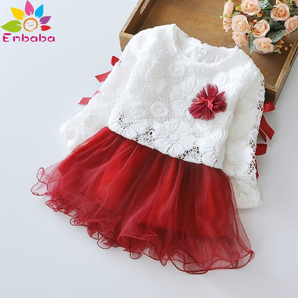 christmas baby girls dress winter long sleeve lace flower Princess ...