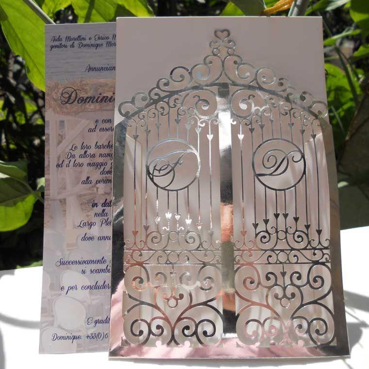 Vintage Gate Sieres Wedding Invitation Laser Cut Metallic Paper ...