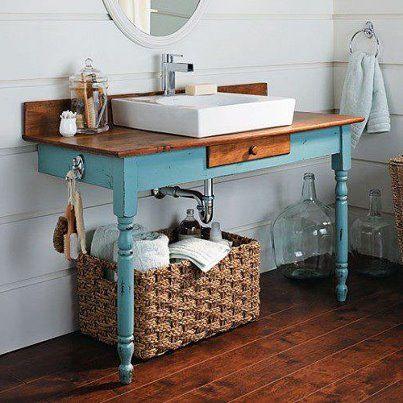 Table Made Vanity Diy Bathroom Vanity Bathroom Recycling Diy Bathroom Decor