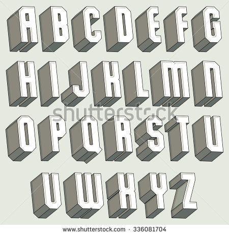 D Font Geometric ThreeDimensional Letters Set Monochrome