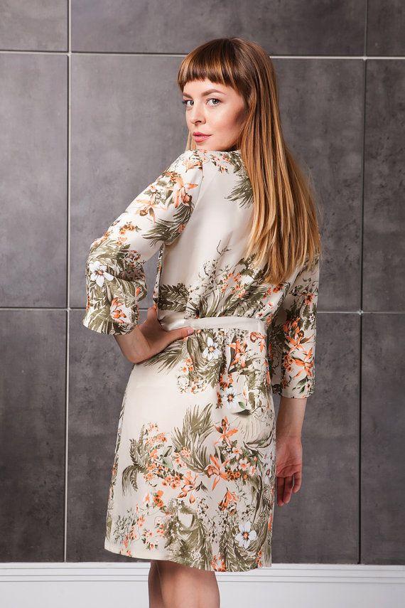 2ef5cee843 Floral Kimono Robe  Bridal Dressing Gown  Silky Robe Cream