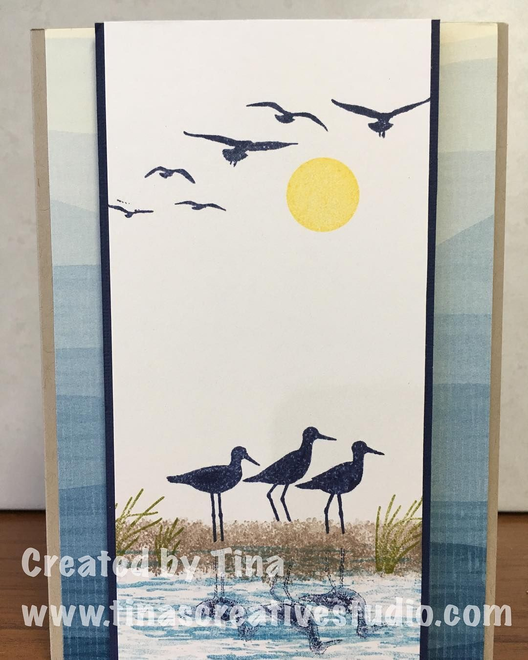 Another card using the High Tide stamp set from Stampin Up the second in a class. #handmadecards #stamping #stampinup #cardmakingclass #tinascreativestudio