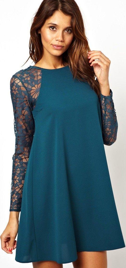 dc47033a5e Vestido azul turquesa con la mangas en flores