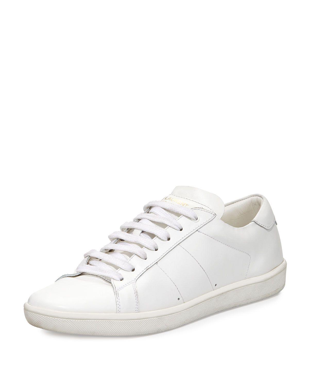 268c72e2221 Yves Saint Laurent Men's Leather Low-Top Sneaker, White, Size: 41.5EU/8.5D