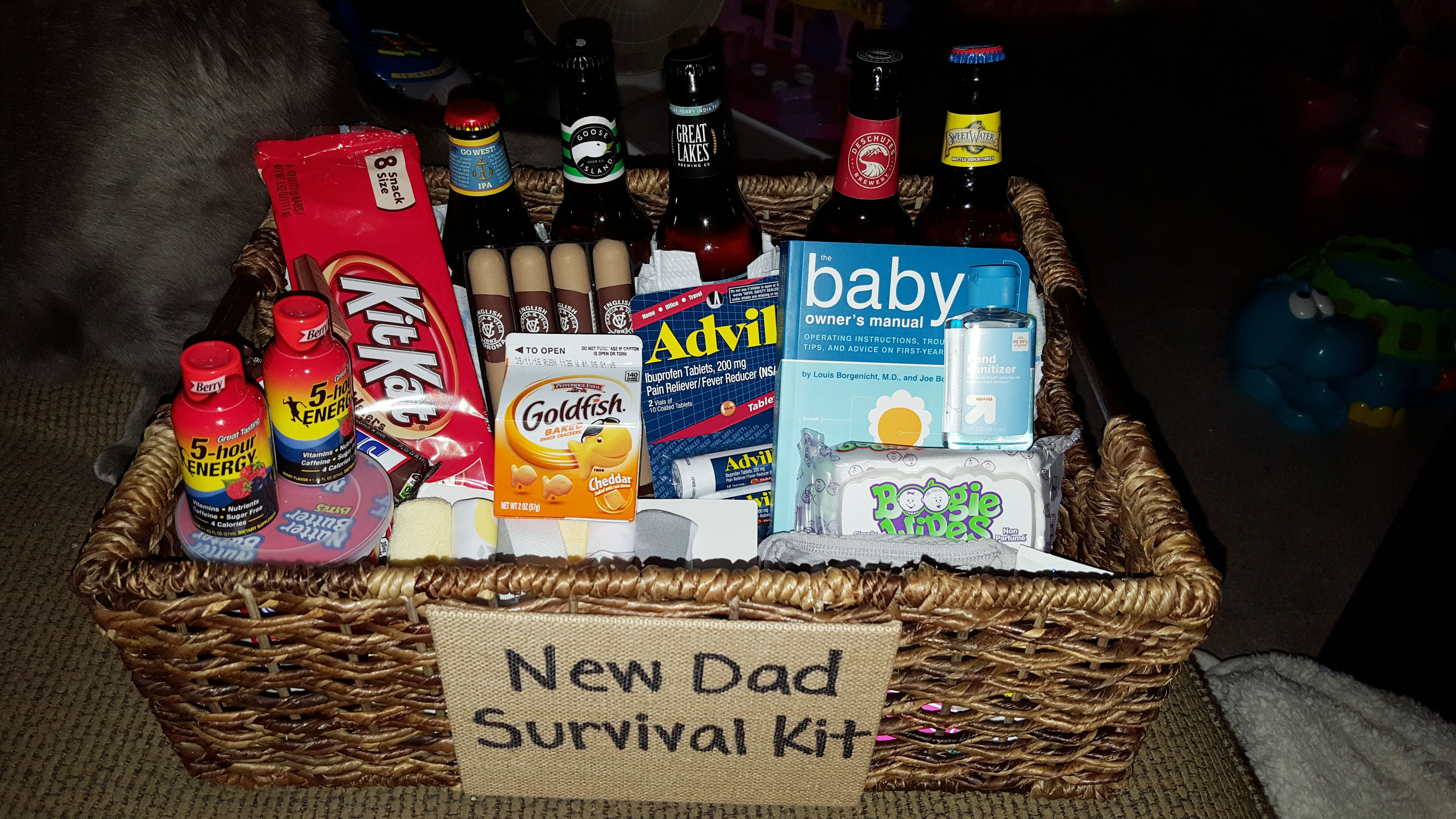 New Dad Survival Kit Snacks Candy 5 Hour Energy Beer Cigars