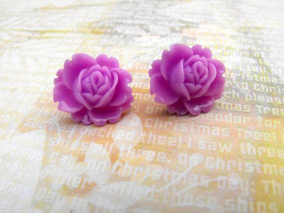 Stud Earrings  Magenta Ear Blooms  Blooming Roses  by ladeebee, $8.00