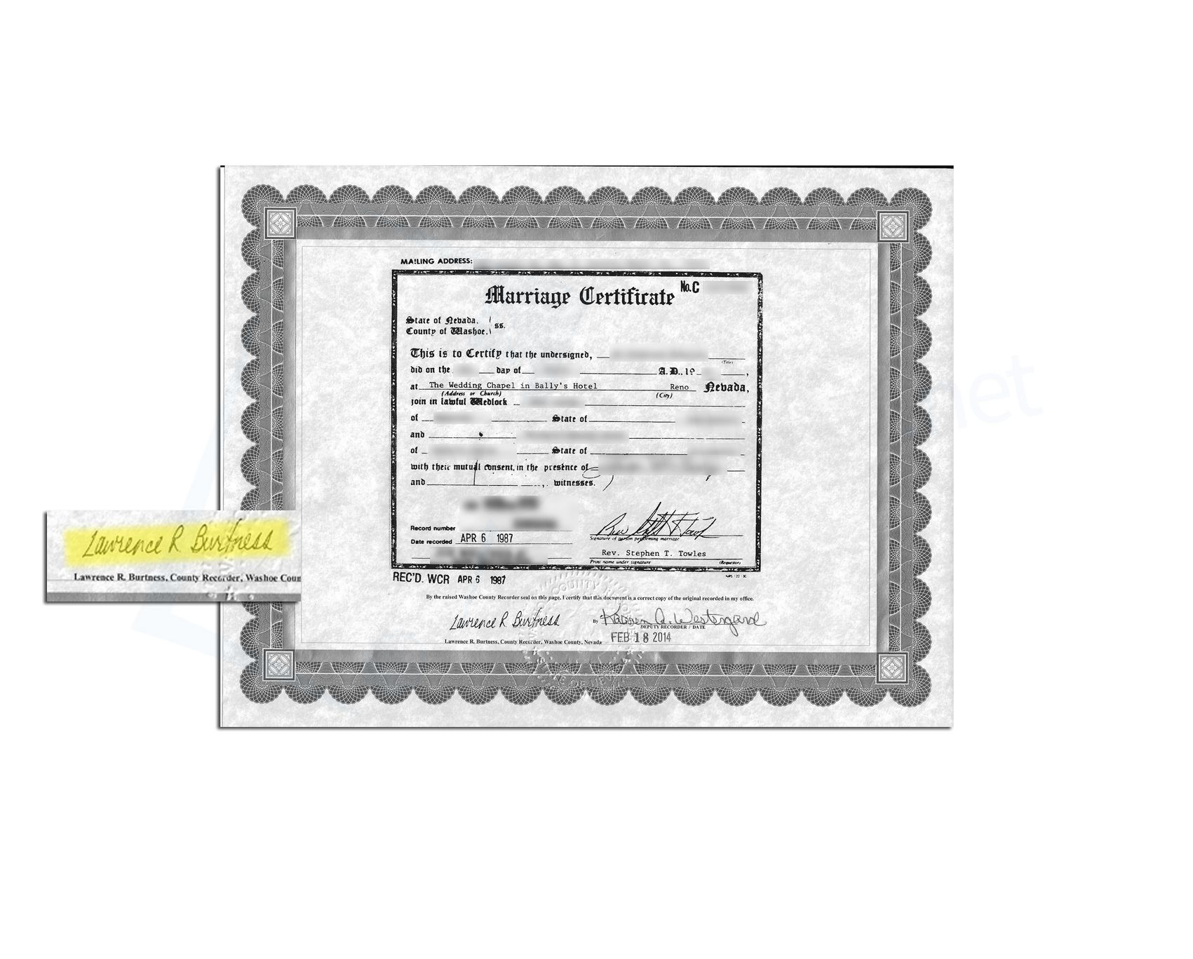 State Of Nevada Marriage Certificate Issued By Lawrence R Burtness