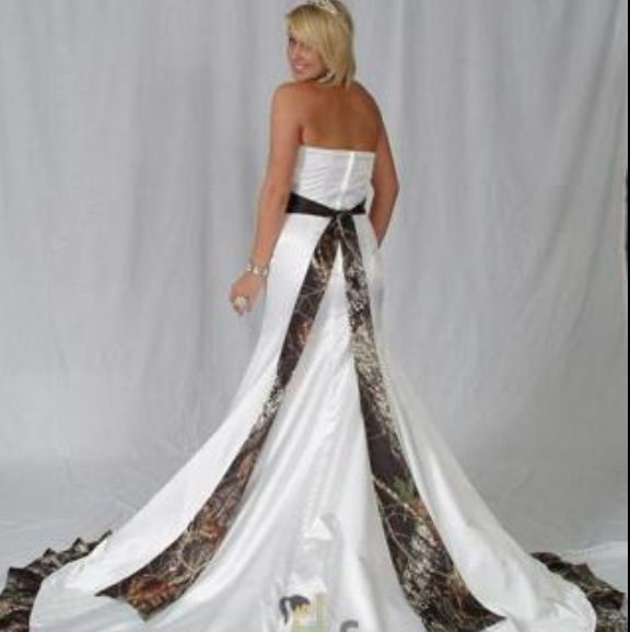 Camouflage Ribbon Strapless Wedding Dress LOVE