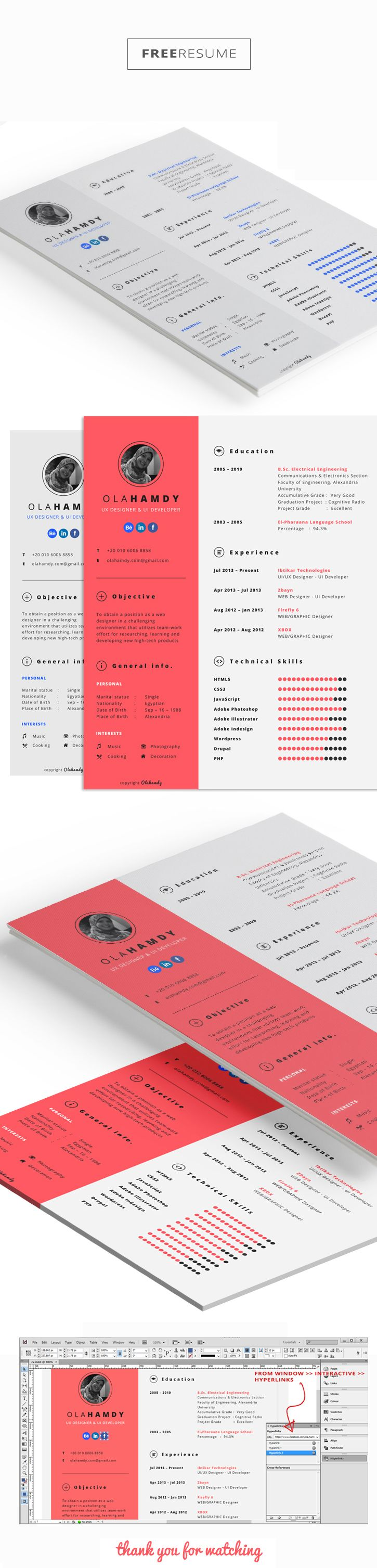 free clean interactive resume on behance resume design