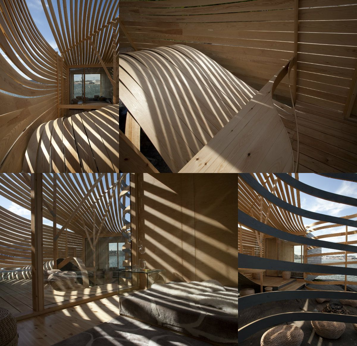 amazing design house with unique wood slat wall design picture