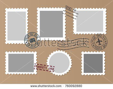 Post marks set on craft paper Background Set of Blank Postage - blank paper background