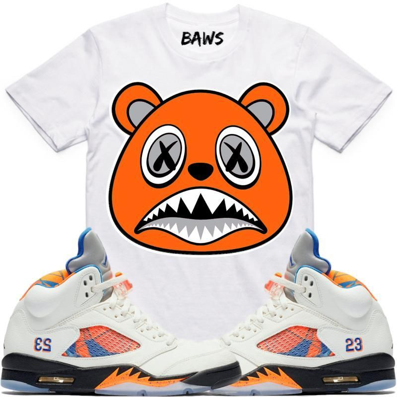 3477101fce2d ORANGE BAWS White Sneaker Tees Shirt - Jordan 5 Barcelona