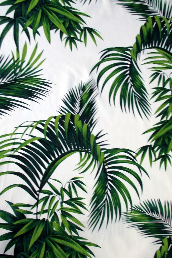 This Fabric Features Large Scale Palm Fronds In Shades Of Green All On An Ivory Background This Print Is From Hoff Tropical Leaves Palm Fronds Shades Of Green