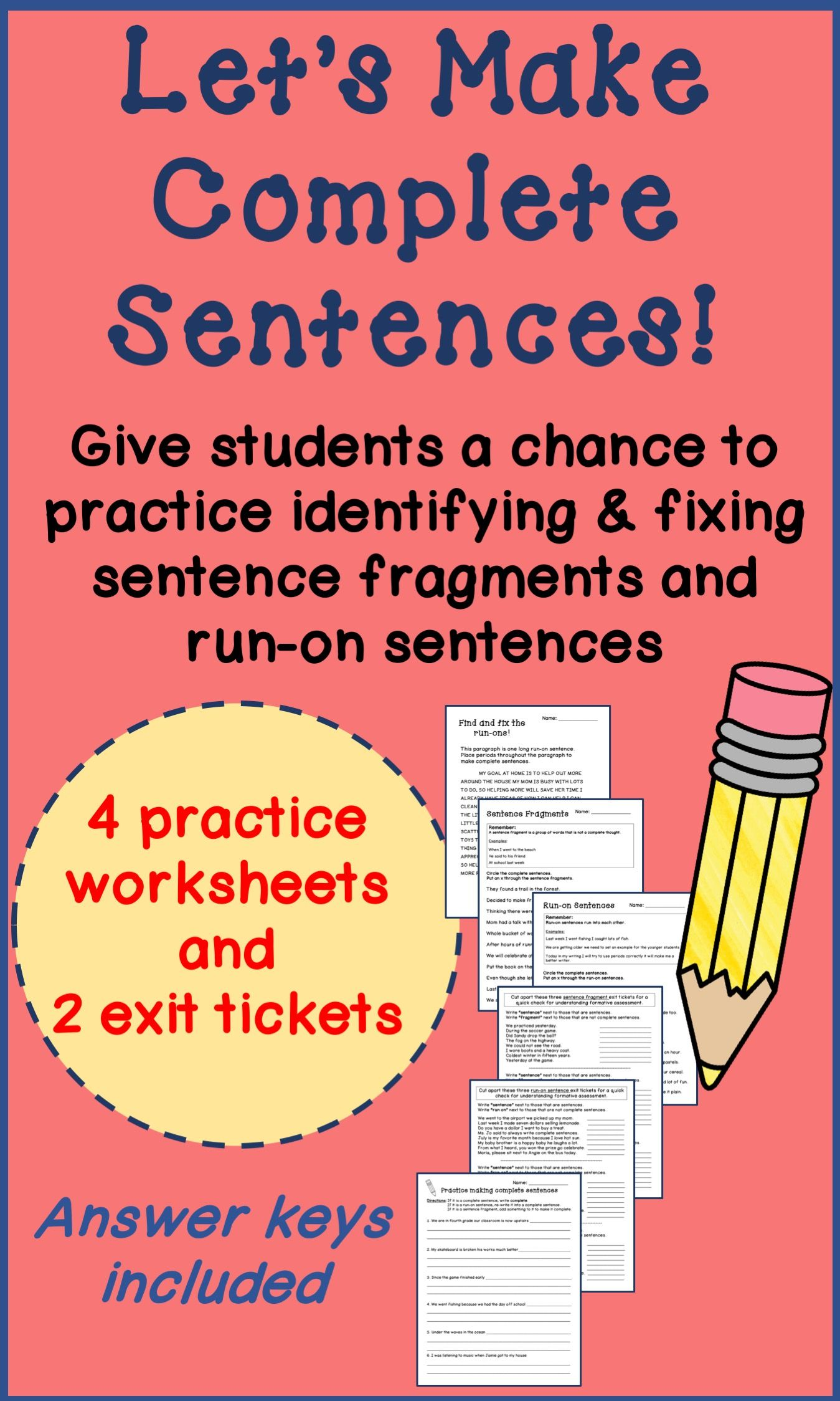 Complete Sentences Run Ons Sentence Fragment Worksheets