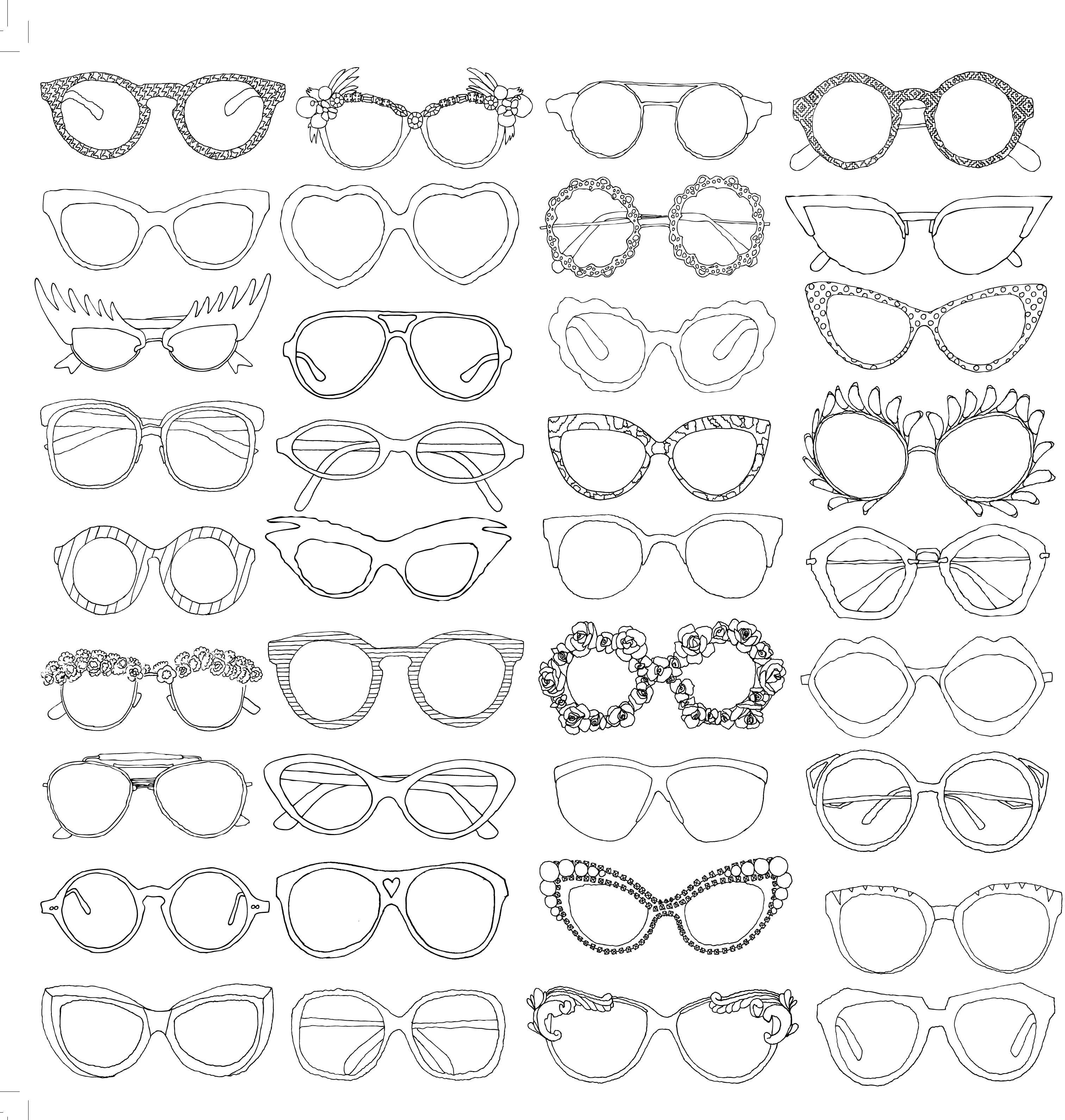 EYEGLASSES lunettes glasses coloriage adulte anti stress paris fashion adult coloring