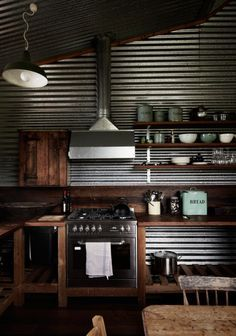 Industrial Kitchens With Sheet Metal Walls Google Search