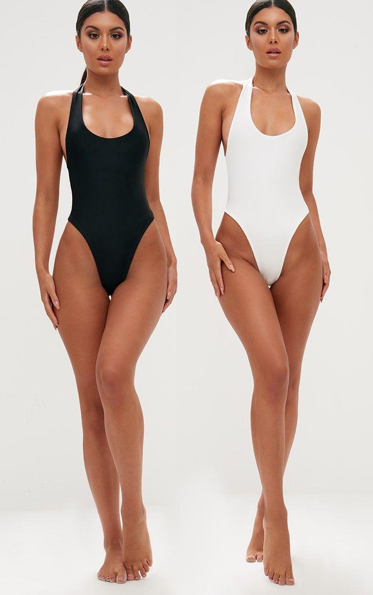 Black White 2 Pack High Leg Swimsuit High Leg Swimsuit Black And White Swimsuit High Leg One Piece Swimsuit