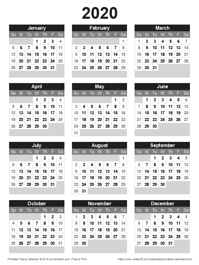 Download A Free Printable 2020 Yearly Calendar From Vertex42 Com Printable Yearly Calendar Calendar Printables Free Printable Calendar