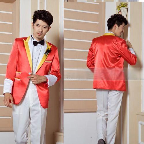 Orange White Prom Formal Dress Clothes Outfits Suit Tuxedo Men SKU ...