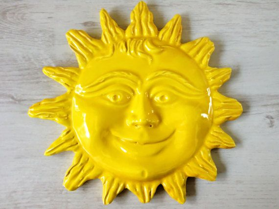 Yellow ceramic sun ocean-style wall decor | Rustic and traditional ...