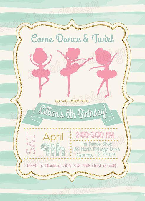 Ballerina Birthday Invitation Ballet Birthday Invitation Ballerina